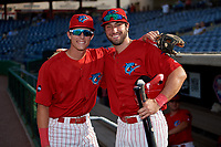 Clearwater Threshers Nick Maton (6) and Matt Vierling (28) before a Florida State League game against the Charlotte Stone Crabs on May 17, 2019 at Spectrum Field in Clearwater, Florida.  Charlotte defeated Clearwater 12-4.  (Mike Janes/Four Seam Images)
