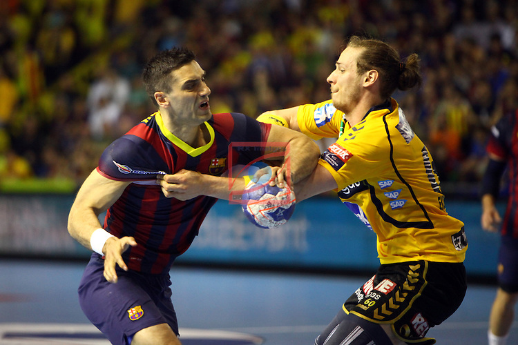 VELUX EHF Champions League 2013-14 - 1/4 Final.<br /> FC Barcelona vs Rhein Neckar Lowen: 31-24.<br /> Kiril Lazarov vs Kim Ekdah.