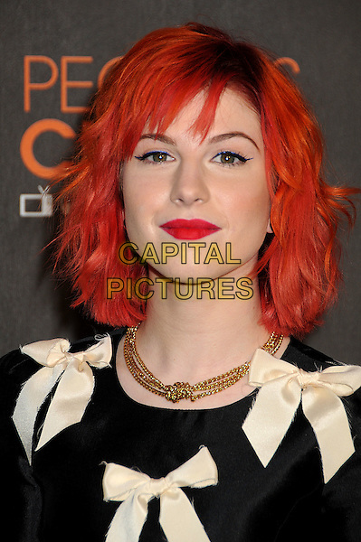 HAYLEY WILLIAMS of Paramore.36th Annual People's Choice Awards - Arrivals held at the Nokia Theatre LA Live, Los Angeles, California, USA..January 6th, 2009.headshot portrait black white ribbon bows dyed red hair lipstick gold chain necklace knot knotted .CAP/ADM/BP.©Byron Purvis/AdMedia/Capital Pictures.