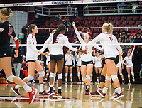 STANFORD, CA - November 4, 2018: Audriana Fitzmorris, Tami Alade, Meghan McClure, Tami Alade, Kathryn Plummer at Maples Pavilion. No. 2 Stanford Cardinal defeated the Utah Utes 3-0.