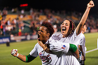 Portland Thorns goalkeeper Karina LeBlanc (1) celebrates with forward Danielle Foxhoven (9) after the match. The Portland Thorns defeated the Western New York Flash 2-0 during the National Women's Soccer League (NWSL) finals at Sahlen's Stadium in Rochester, NY, on August 31, 2013.