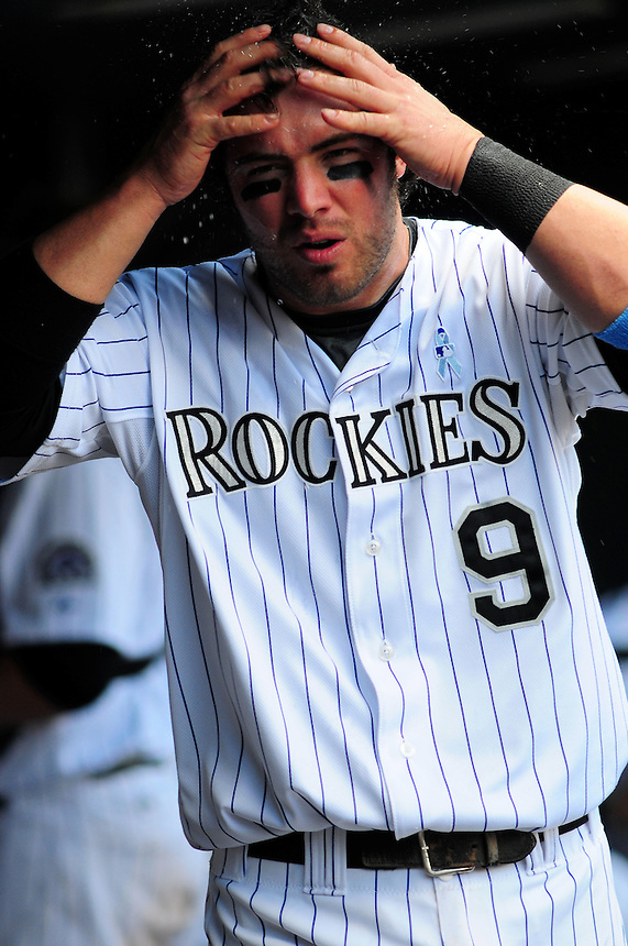 June 21, 2009: Rockies 3rd baseman Ian Stewart cools down in the dugout during a game between the Pittsburgh Pirates and the Colorado Rockies at Coors Field in Denver, Colorado. The Rockies beat the Pirates 5-4, to improve to 16-1 in the last 17 games.