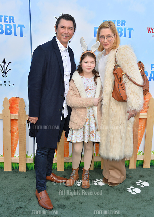 Lou Diamond Phillips, Yvonne Boismier Phillips &amp; Indigo Sanara Phillips at the world premiere for &quot;Peter Rabbit&quot; at The Grove, Los Angeles, USA 03 Feb. 2018<br /> Picture: Paul Smith/Featureflash/SilverHub 0208 004 5359 sales@silverhubmedia.com