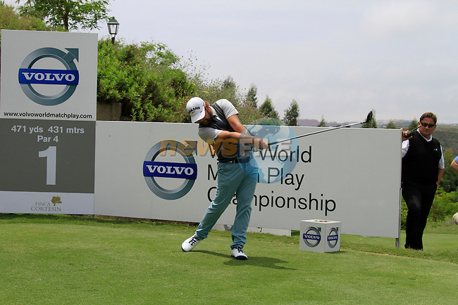 Ryan Moore (USA) teeing off on the 1st tee during Day 1 of the Volvo World Match Play Championship in Finca Cortesin, Casares, Spain, 19th May 2011. (Photo Eoin Clarke/Golffile 2011)