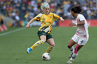 9th November 2019; Bankwest Stadium, Parramatta, New South Wales, Australia; International Womens Friendly Football, Australia versus Chile; Ellie Carpenter of Australia takes on Francisca Lara of Chile - Editorial Use