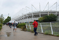 A general view of Liberty Stadium, home of Swansea City as fans arrive ahead of kickoff<br /> <br /> Photographer Kevin Barnes/CameraSport<br /> <br /> The EFL Sky Bet Championship - Swansea City v Preston North End - Saturday August 11th 2018 - Liberty Stadium - Swansea<br /> <br /> World Copyright &copy; 2018 CameraSport. All rights reserved. 43 Linden Ave. Countesthorpe. Leicester. England. LE8 5PG - Tel: +44 (0) 116 277 4147 - admin@camerasport.com - www.camerasport.com