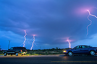 Storm chasers watch lightning storm during severe thunderstorm near Jal, New Mexico, AGPix_0592.