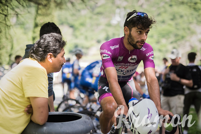 Maglia Ciclamino / points leader Fernando Gaviria (COL/Quick-Step Floors) warming up on the rollers pre-race<br /> <br /> Stage 17: Tirano &rsaquo; Canaze (219km)<br /> 100th Giro d'Italia 2017