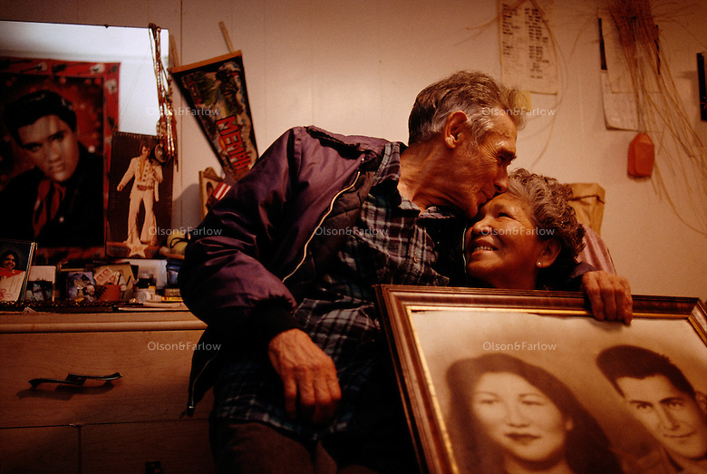 Several generations of Hoopa culture adorn the walls with Elvis prints -- all momentos for this couple that fell in love and married years later after WWII interrupted their courtship.