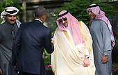 United States President Barack Obama shakes hands with Saudi Arabia Crown Prince Mohammed bin Nayef following the Gulf Cooperation Council-U.S. summit at Camp David on May 14, 2015. Obama hosted leaders from Saudi Arabia, Kuwait, Bahrain, Qatar, the United Arab Emirates and Oman to discuss a range of issues including terrorism and the U.S.-Iran nuclear deal. <br /> Credit: Kevin Dietsch / Pool via CNP