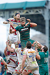 Magnus Lund of Sale contests the line-out with Geoff Parling of Tigers - Aviva Premiership - Leicester Tigers vs Sale Sharks - Season 2014/15 - 28th February 2015 - Photo Malcolm Couzens/Sportimage