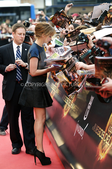 WWW.ACEPIXS.COM . . . . .  ..... . . . . US SALES ONLY . . . . .....March 26 2012, Madrid....Actress Jennifer Lawrence promotes the new movie 'The Hunger Games' at Capitol cinema on March 26, 2012 in Madrid, Spain....Please byline: FD/ACE Pictures, Inc.... . . . .  ....Ace Pictures, Inc:  ..Tel: (212) 243-8787..e-mail: info@acepixs.com..web: http://www.acepixs.com