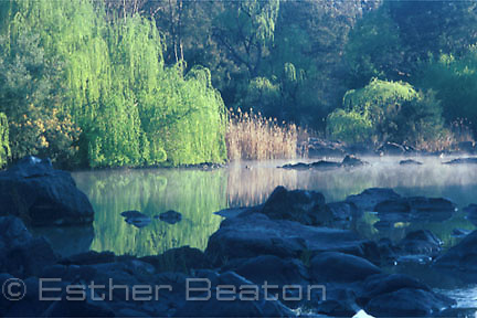 Morning mist on Kambah Pool, Murrumbidgee River, Australian Capital Territory