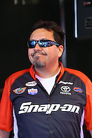 Feb. 14, 2013; Pomona, CA, USA; NHRA funny car driver Cruz Pedregon during qualifying for the Winternationals at Auto Club Raceway at Pomona.. Mandatory Credit: Mark J. Rebilas-