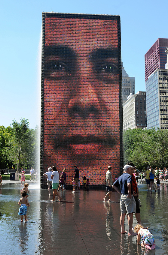 The Crown Fountain on a brilliant summer day, in Millenium Park, Chicago, Illinois.