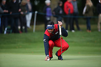 Lee Slattery (ENG) in putting action during the Final Round of the British Masters 2015 supported by SkySports played on the Marquess Course at Woburn Golf Club, Little Brickhill, Milton Keynes, England.  11/10/2015. Picture: Golffile | David Lloyd<br /> <br /> All photos usage must carry mandatory copyright credit (&copy; Golffile | David Lloyd)
