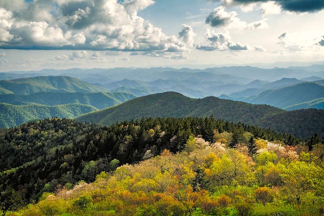 Evening light on the Cowee Mountains, Blue Ridge Parkway