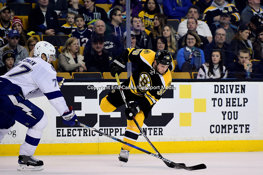 Sunday, November 27, 2016: Tampa Bay Lightning defenseman Victor Hedman (77) tries to block a pass from Boston Bruins left wing Matt Beleskey (39) during the National Hockey League game between the Tampa Bay Lightning and the Boston Bruins held at TD Garden, in Boston, Mass. Boston defeats Tampa Bay 4-1. Eric Canha/CSM