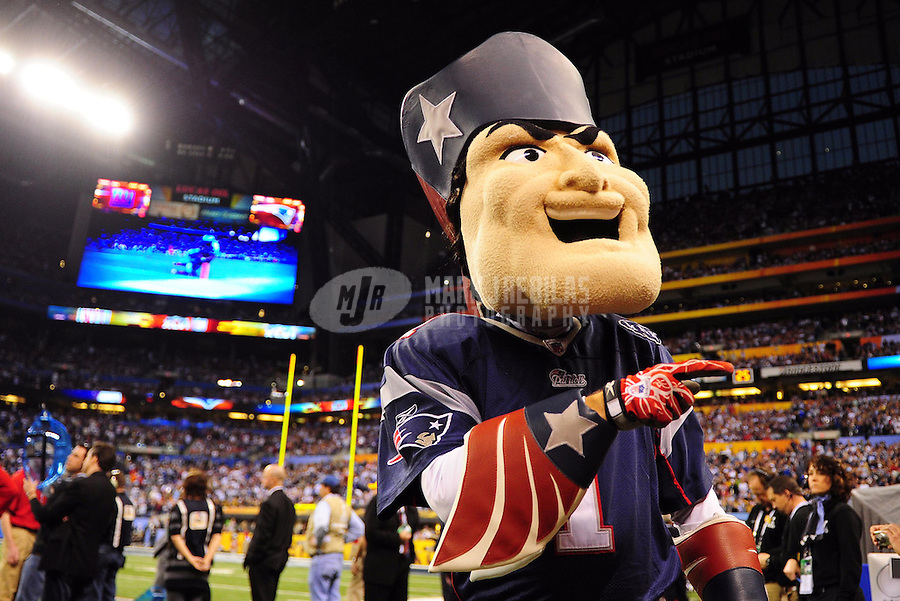 Feb 5, 2012; Indianapolis, IN, USA; New England Patriots mascot performs during the first half of Super Bowl XLVI against the New York Giants at Lucas Oil Stadium.  Mandatory Credit: Mark J. Rebilas-