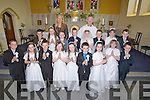 FIRST: A great day for the pupils of Glenderry  NS Ballyheigue as they made their first holy communion in St Mary's Churtch, Ballyheigue on Saturday. Front l-r: Conor O'Sullivan, Ava Stack, David O'Mahony, Laura Reidy, Erica Lucid, Jordan Goggin, Sharon Casey, Jessica Kane and  Thomas Enright. 2nd row, l-r: Graham Slattery, Rio Dunne, Jack Stack, Toma?s Gaynor, Clodagh Donnelly, Tedhg Griffin, Leanne Rodes and Jack Thornton. Back l-r: mSusan Crean (teacher) and Fr Tom Leane...