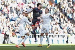 Real Madrid´s Lucas Vazquez and Celta de Vigo´s Planas during 2015/16 La Liga match between Real Madrid and Celta de Vigo at Santiago Bernabeu stadium in Madrid, Spain. March 05, 2016. (ALTERPHOTOS/Victor Blanco)
