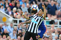 Ayoze Perez of Newcastle United battles with César Azpilicueta of Chelsea during Newcastle United vs Chelsea, Premier League Football at St. James' Park on 13th May 2018