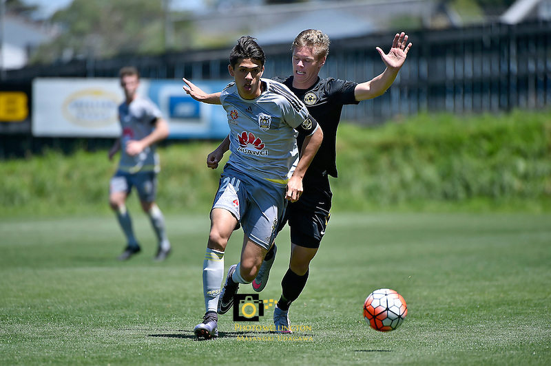 Wellington Phoenix&rsquo; Logan Rogerson and Team Wellington&rsquo;s Anthony Hobbs in action during the ASB Premiership Football - Team Wellington v Wellington Phoenix at David Farrington Park, Wellington, New Zealand on Sunday 20 December 2015.<br /> Photo by Masanori Udagawa. <br /> www.photowellington.photoshelter.com.