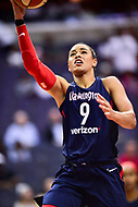 Washington, DC - June 15, 2018: Washington Mystics guard Natasha Cloud (9) goes up for a layup during game between the Washington Mystics and New York Liberty at the Capital One Arena in Washington, DC. (Photo by Phil Peters/Media Images International)