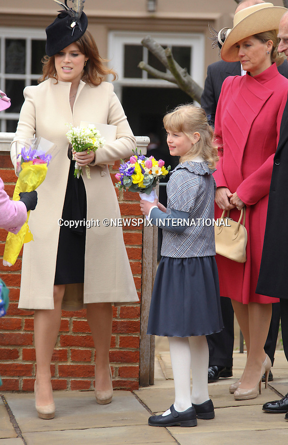 "PRINCESS EUGENIE, LOUISE WINDSOR AND MOTHER SOPHIE, COUNTESS OF WESSEX.at Easter Service at St George's Chapel, Windsor_April8, 2012.Mandatory credit photo: ©NEWSPIX INTERNATIONAL..(Failure to credit will incur a surcharge of 100% of reproduction fees)..                **ALL FEES PAYABLE TO: ""NEWSPIX INTERNATIONAL""**..IMMEDIATE CONFIRMATION OF USAGE REQUIRED:.Newspix International, 31 Chinnery Hill, Bishop's Stortford, ENGLAND CM23 3PS.Tel:+441279 324672  ; Fax: +441279656877.Mobile:  07775681153.e-mail: info@newspixinternational.co.uk"