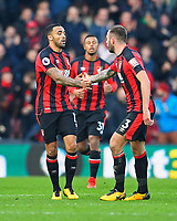 Callum Wilson of AFC Bournemouth left is congratulated on scoring by Steve Cook of AFC Bournemouth during AFC Bournemouth vs Arsenal, Premier League Football at the Vitality Stadium on 14th January 2018