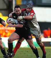 2005/06, Heineken Cup, 4th Rd, Saracens vs Ulster, Ulster's Matt McCullough reaches out the tackle Saracen's ball carrying prop, Kevin Yates at Vicarage Road, ENGLAND   © Peter Spurrier/Intersport Images - email images@intersport-images..