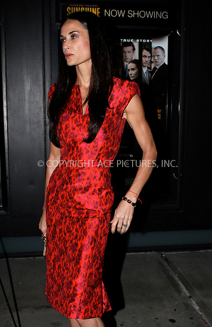 WWW.ACEPIXS.COM . . . . .  ....October 17 2011, New York City....Actress Demi Moore arriving at the 'Margin Call' premiere at the Landmark Sunshine Cinema on October 17, 2011 in New York City. ....Please byline: NANCY RIVERA- ACEPIXS.COM.... *** ***..Ace Pictures, Inc:  ..Tel: 646 769 0430..e-mail: info@acepixs.com..web: http://www.acepixs.com