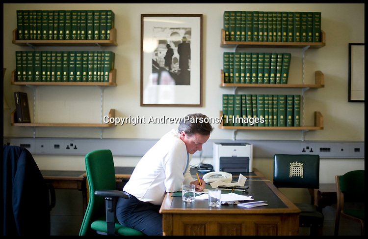 Leader of the Conservative Party David Cameron prepares for his first statement as Prime Minister in his office in Portcullis House, as he waits for the Prime Minister Gordon Brown to resign, Tuesday May 11, 2010, Photo By Andrew Parsons/i-Images