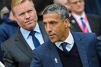 Chris Hughton Manager of Brighton & Hove Albion and Ronald Koeman during the Premier League match between Brighton and Hove Albion and Everton at the American Express Community Stadium, Brighton and Hove, England on 15 October 2017. Photo by Edward Thomas / PRiME Media Images.