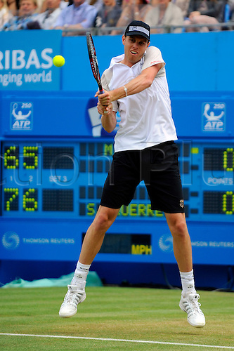 12.06.10 LONDON, UNITED KINGDOM, JUNE 13 2010:  Sam Querreys plays a deep backhand return in the final against Mardy Fish (USA) at the 2010 Aegon Championships at The Queens Club, London, United Kingdom.