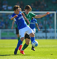 Lincoln City's Alex Woodyard vies for possession with Eastleigh's Sam Matthews<br /> <br /> Photographer Andrew Vaughan/CameraSport<br /> <br /> Vanarama National League - Eastleigh v Lincoln City - Saturday 8th April 2017 - Silverlake Stadium - Eastleigh<br /> <br /> World Copyright &copy; 2017 CameraSport. All rights reserved. 43 Linden Ave. Countesthorpe. Leicester. England. LE8 5PG - Tel: +44 (0) 116 277 4147 - admin@camerasport.com - www.camerasport.com