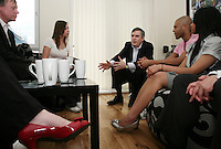 Prime Minister Gordon Brown meets members of the public on the campaign trail before the 2010 general election. He is pictured with Richard Belle and Cheryl Revill and other local residents in the flat the couple bought in Edgware, London with the help of the government under the homebuy direct scheme.