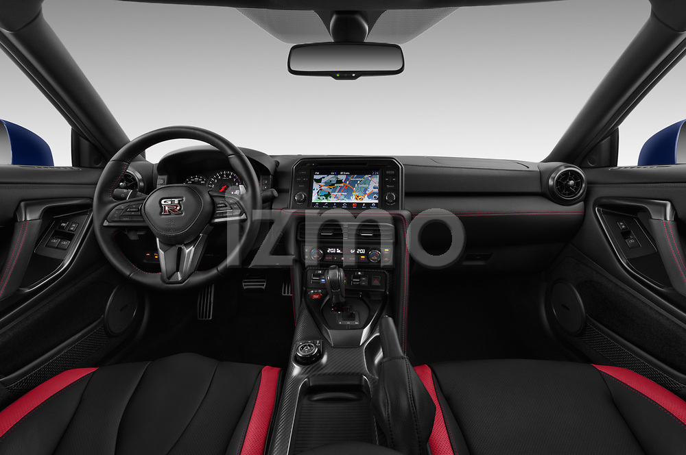 Stock photo of straight dashboard view of 2017 Nissan GT-R Black-Edition 2 Door Coupe Dashboard