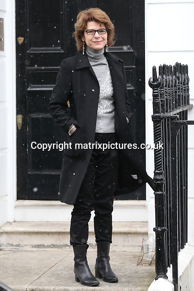 NON EXCLUSIVE PICTURE: MATRIXPICTURES.CO.UK.PLEASE CREDIT ALL USES..WORLD RIGHTS..Vicky Pryce, the ex-wife of disgraced former Liberal Democrat cabinet minister Chris Huhne, is pictured outside her South London home, prior to being sentenced for perverting the course of justice. ..Pryce is likely to face jail, after being convicted of taking Huhne's speeding points for him, following an incident on the M11 motorway in 2003...MARCH 11th 2013..REF: WTX 131619