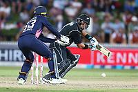 New Zealand's Ross Taylor works a single. New Zealand Blackcaps v England. One Day International Cricket. Seddon Park, Hamilton, New Zealand on Sunday 25 February 2018.<br /> <br /> Copyright photo: &copy; Bruce Lim / www.photosport.nz