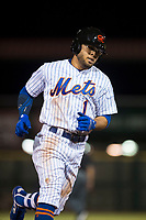 Scottsdale Scorpions center fielder Desmond Lindsay (1), of the New York Mets organization, rounds the bases after hitting his second home run of the night during an Arizona Fall League game against the Salt River Rafters at Scottsdale Stadium on October 12, 2018 in Scottsdale, Arizona. Scottsdale defeated Salt River 6-2. (Zachary Lucy/Four Seam Images)
