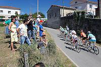 A group of cyclists escaped with Antonio Piedra and David De La Fuente (Caja Rural), Ruben Perez (Euskaltel-Euskadi), Llloyd Mondory (Ag2r), Pablo Lastras (Movistar), Simon Geschke (Argos-Shimano), Kevin Seeldraeyers and Andrey Kashechkin (Astana), Vicent Reynes (Lotto Belisol) nad Sergey Lagutin (Vacansolei-DMC) during the stage of La Vuelta 2012 between La Robla and Lagos de Covadonga.September 2,2012. (ALTERPHOTOS/Paola Otero) /NortePhoto.com<br /> <br /> **CREDITO*OBLIGATORIO** <br /> *No*Venta*A*Terceros*<br /> *No*Sale*So*third*<br /> *** No*Se*Permite*Hacer*Archivo**<br /> *No*Sale*So*third*