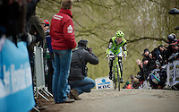 Gent-Wevelgem 2013.Maciej Bodnar (POL) on top of the Kemmelberg..
