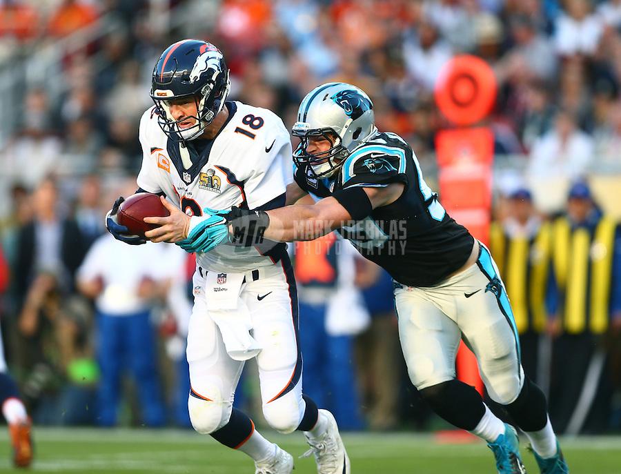 Feb 7, 2016; Santa Clara, CA, USA; Denver Broncos quarterback Peyton Manning (18) is sacked by Carolina Panthers middle linebacker Luke Kuechly (59) in the first half in Super Bowl 50 at Levi's Stadium. Mandatory Credit: Mark J. Rebilas-USA TODAY Sports