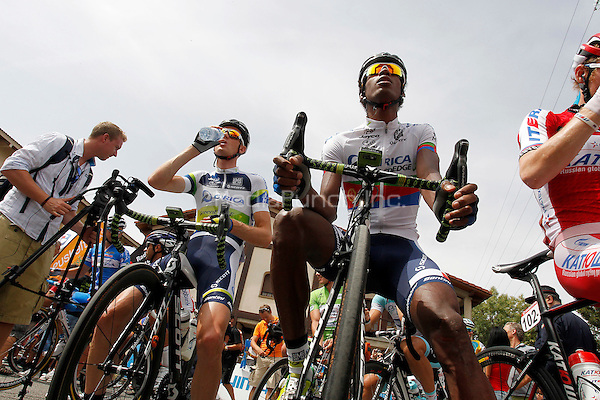 Christopher Froom (c), Alberto Contador (t), Alejandro Valverde (l) and Joaquin Purito Rodriguez during the stage of La Vuelta 2012 between Faustino V and Eibar (Arrate).August 20,2012. ALTERPHOTOS / NortePhoto / MEDIAPUNCHINC