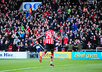 Lincoln City's John Akinde celebrates scoring the opening goal<br /> <br /> Photographer Andrew Vaughan/CameraSport<br /> <br /> The EFL Sky Bet League Two - Lincoln City v Forest Green Rovers - Saturday 3rd November 2018 - Sincil Bank - Lincoln<br /> <br /> World Copyright © 2018 CameraSport. All rights reserved. 43 Linden Ave. Countesthorpe. Leicester. England. LE8 5PG - Tel: +44 (0) 116 277 4147 - admin@camerasport.com - www.camerasport.com