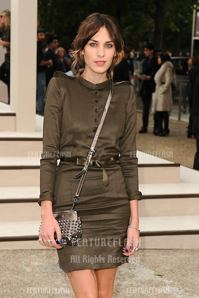 TV presenter, Alexa Chung arrives for the Burberry fashion show as part of London Fashion Week at the Chelsea College of Art and Design, London.  22/09/2010  Picture by: Steve Vas / Featureflash