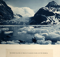 BNPS.co.uk (01202 558833)<br /> Pic: Bonhams/BNPS<br /> <br /> De Geer glacier on South Georgia photographed by Hurley on the way south - little did he know that he would not set foot on dry land for nearly 500 days...<br /> <br /> Photographic record of one of the worlds most epic tales of endurance...<br /> <br /> Remarkable photos documenting Sir Ernest Shackleton's ill-fated attempt to cross Antarctica over 100 years ago have emerged for sale for £40,000.<br /> <br /> The 1914-17 expedition is remembered for one of the greatest feats of human bravery and endurance after the party became stranded for 18 months in freezing conditions. <br /> <br /> The expedition's official photographer, Frank Hurley, captured their ordeal on camera and made presentation albums when he eventually returned to Britain.<br /> <br /> One album was given to King George V. Seven are believed to survive today, including the one for sale that has been owned by a private collector for over 40 years.