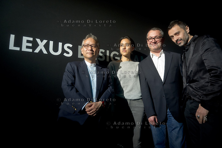 Prof. Hiroshi Ishii, Nao Tamura and Fabio Novembre  during the Lexus Design Amazing 2014, on April 08, 2014. Photo: Adamo Di Loreto/BuenaVista*photo