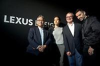 Prof. Hiroshi Ishii, Nao Tamura and Fabio Novembre  during the Lexus Design Amazing 2014, on April 08, 2014. Photo: Adamo Di Loreto/BuenaVista*photo
